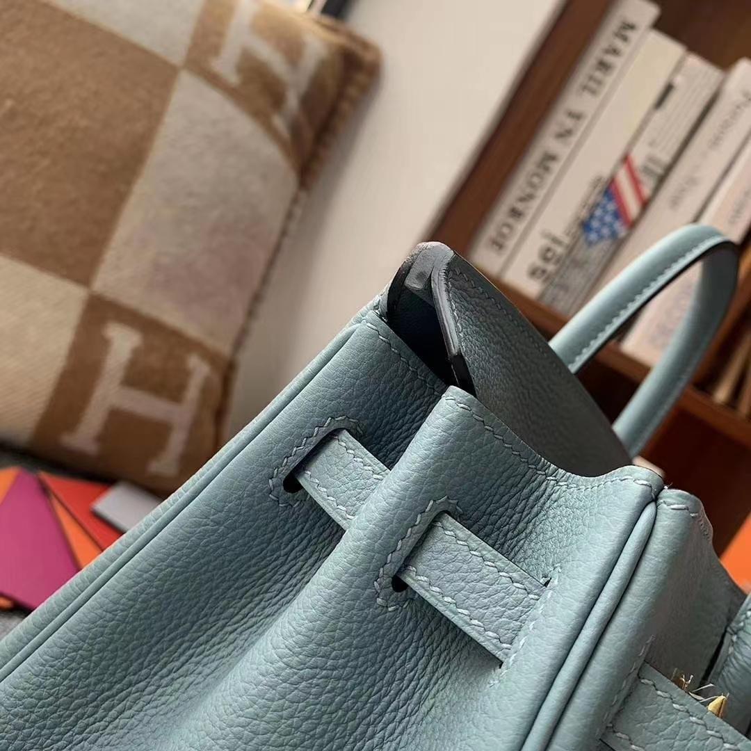 Hermès(爱马仕)天青色 原厂御用顶级小牛皮 Birkin 25 金扣