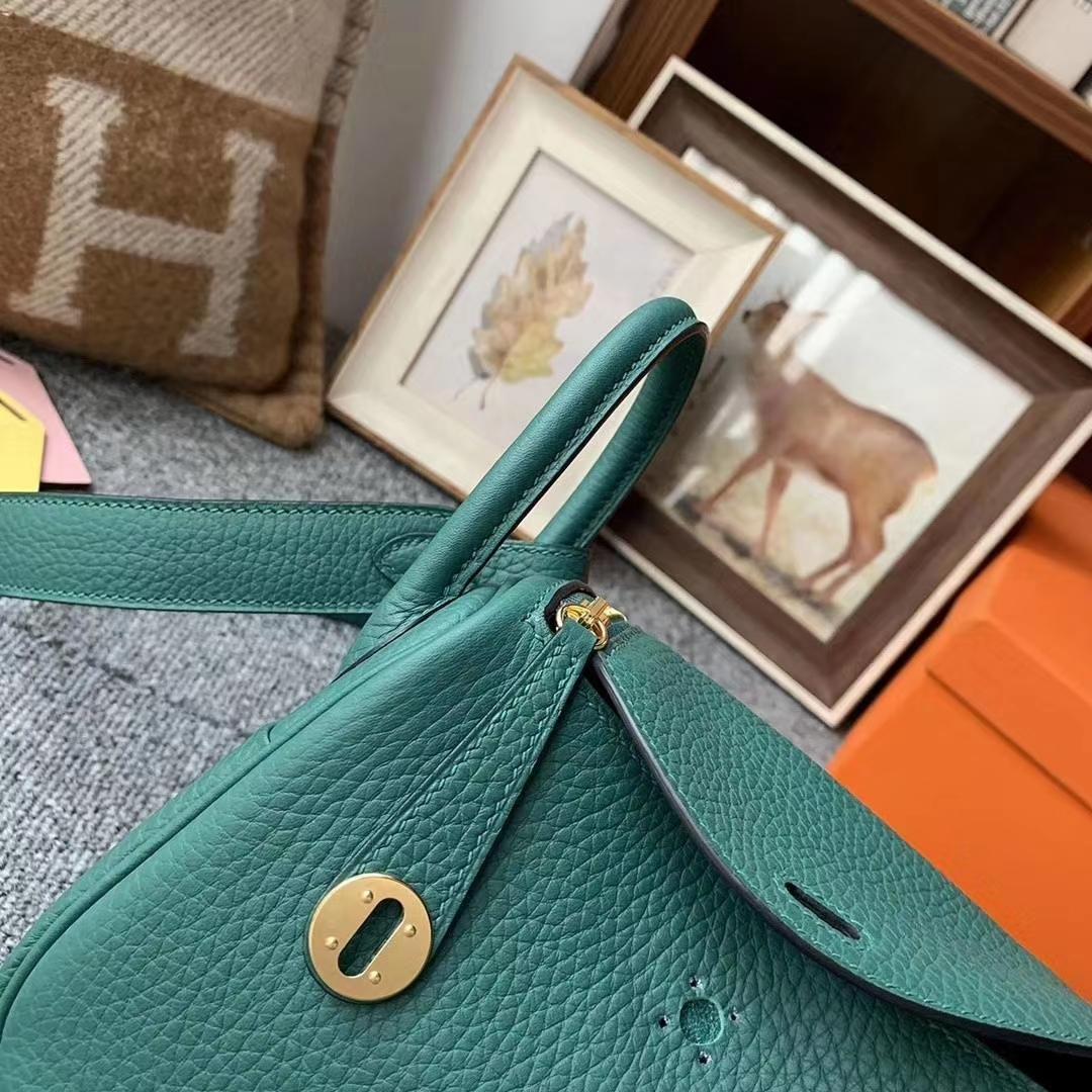 Hermès(爱马仕)Z6孔雀绿 原厂御用顶级TC皮 Mini Lindy 金扣