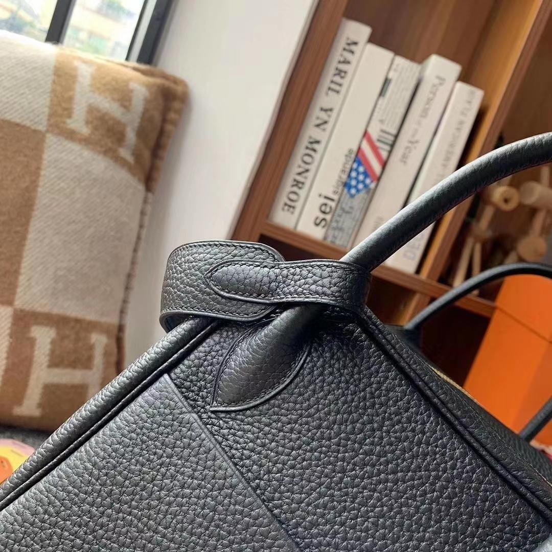 Hermès(爱马仕)CK89黑色 原厂御用顶级TC 皮 Lindy 30 金扣 银扣 现货