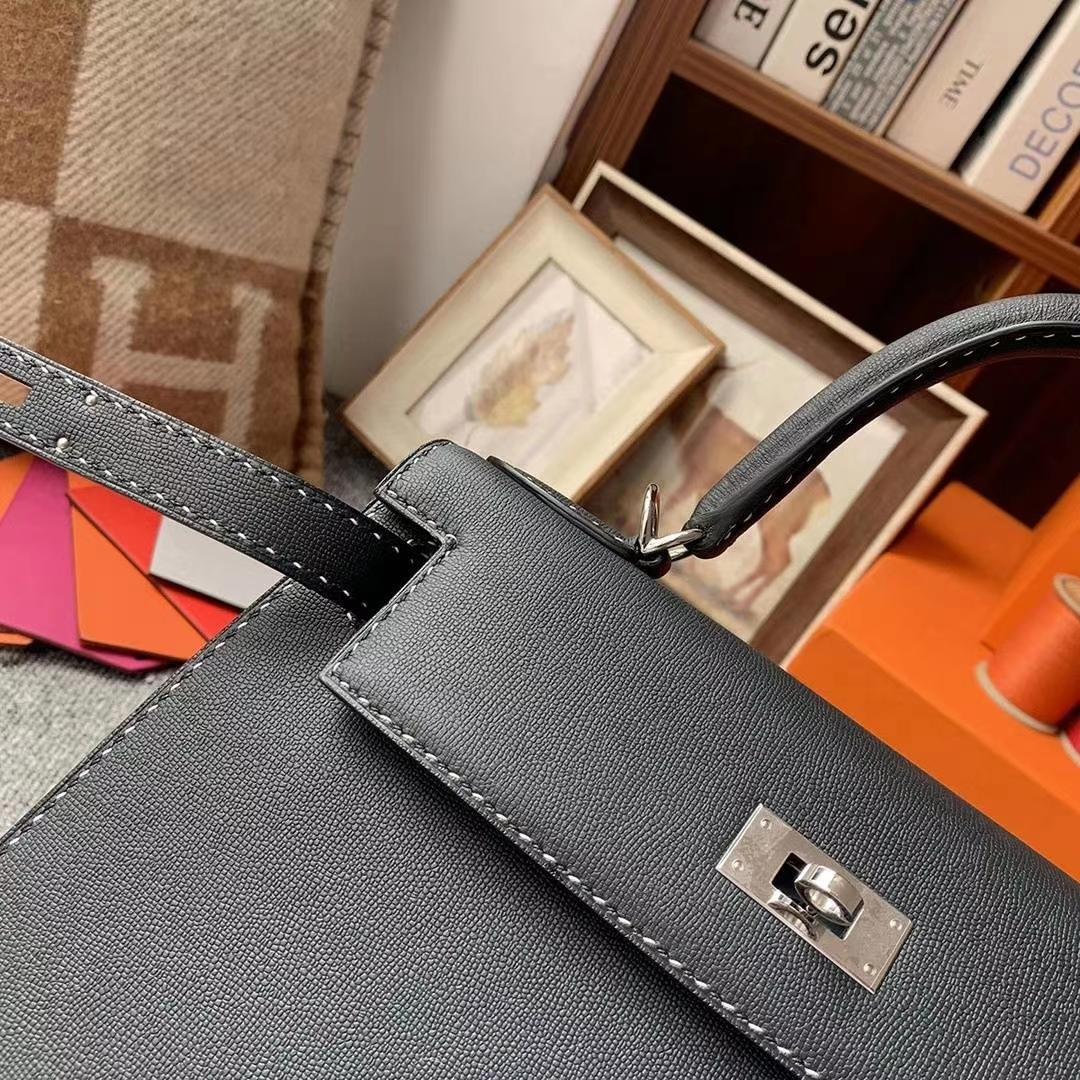 Hermès(爱马仕)CK89黑色 原厂御用顶级Monsieur皮 新款皮质 Kelly 28 外缝 黑白间隔走线 银扣