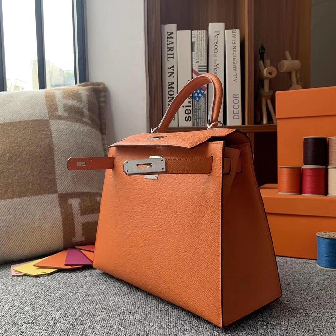 Hermès(爱马仕)93经典橙色 原厂御用顶级Epsom 皮 Kelly 28 外缝 银扣