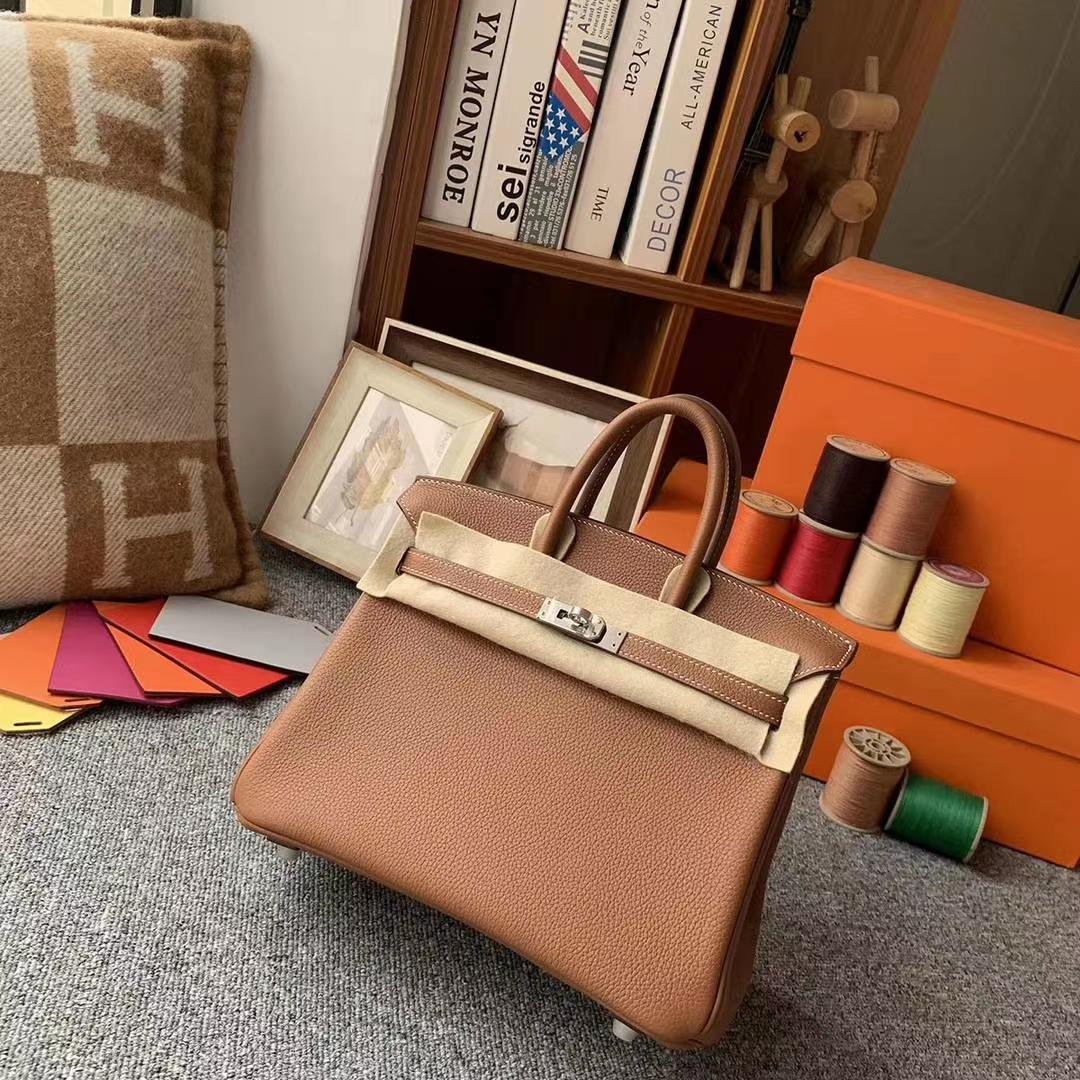 Hermès(爱马仕)C37金棕色 原厂御用顶级小牛皮 Birkin 25 银扣 现货