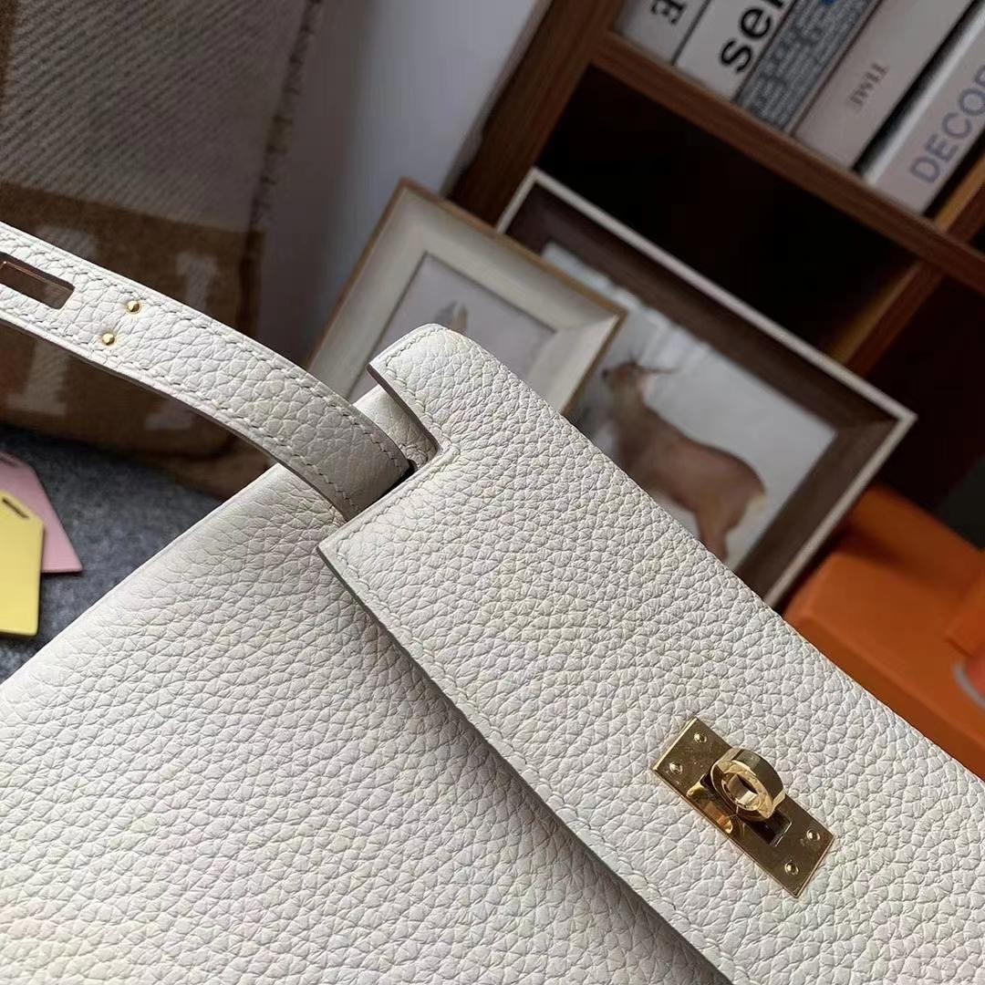 Hermès(爱马仕)奶昔白 原厂御用顶级TC皮 Kelly ado 金扣 现货