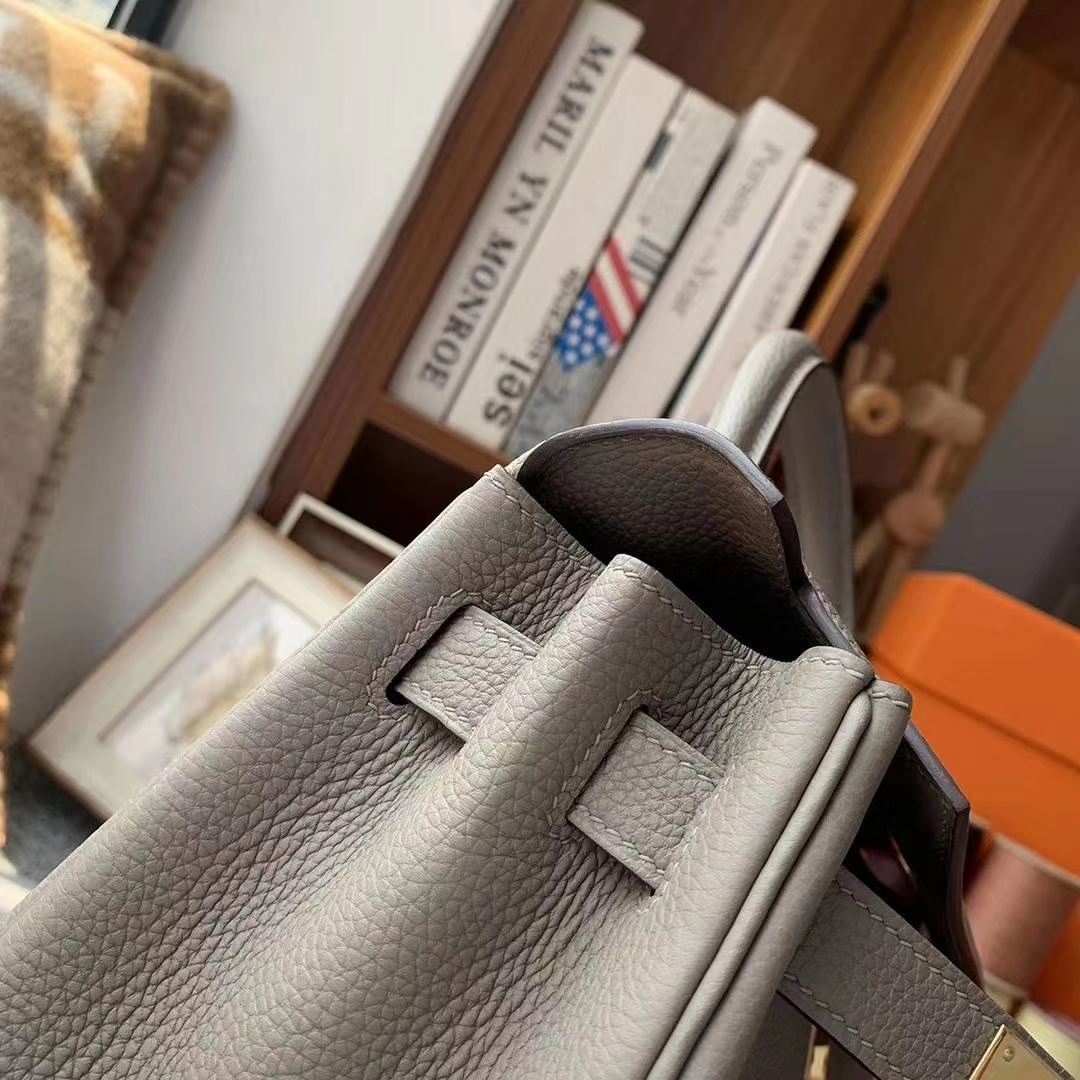 Hermès(爱马仕)M8沥青灰 原厂御用顶级小牛皮 Kelly 28 金扣