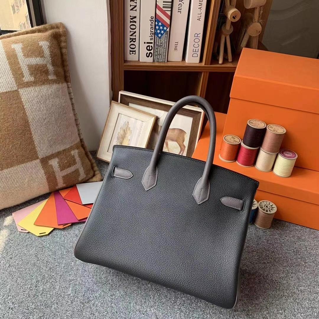 Hermès(爱马仕)CK89黑色拼M8沥青灰 原厂御用顶级小牛皮 Birkin 30 银扣