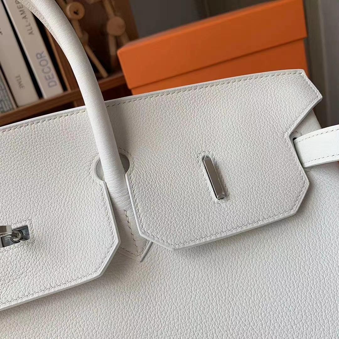 Hermès(爱马仕)纯白色 原厂御用顶级小牛皮 Birkin 40 银扣