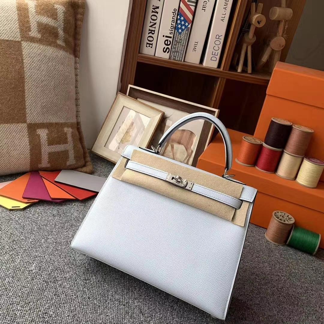 Hermès(爱马仕)天青色 原厂御用顶级Epsom 皮 Kelly 25 银扣 外缝
