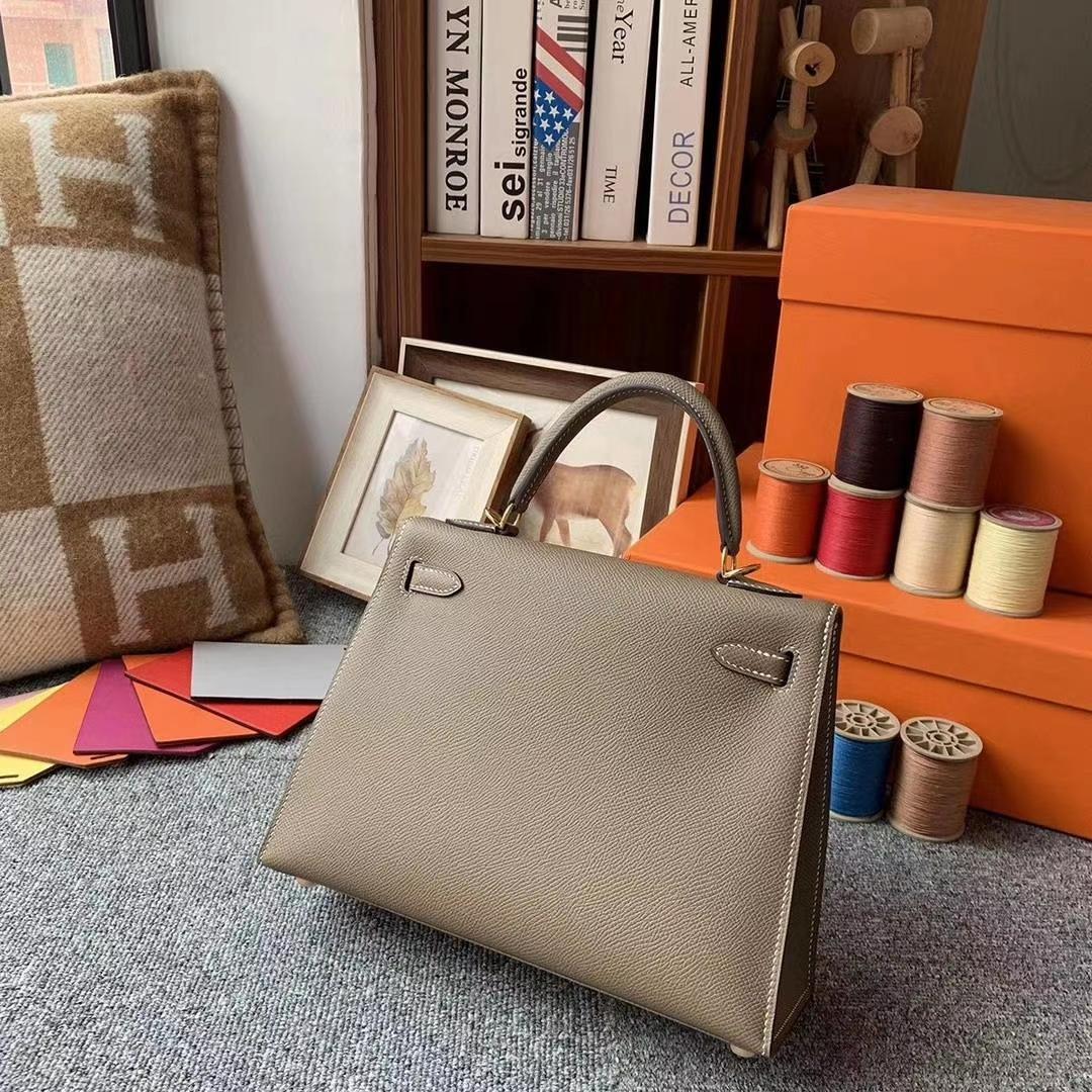 Hermès(爱马仕)CK18大象灰 原厂御用顶级Epsom 皮 Kelly 25 外缝 金扣 银扣 现货