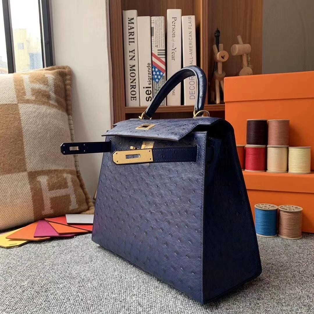 Hermès(爱马仕)深宝蓝 原厂御用顶级KK鸵鸟皮 Kelly 28 外缝 金扣