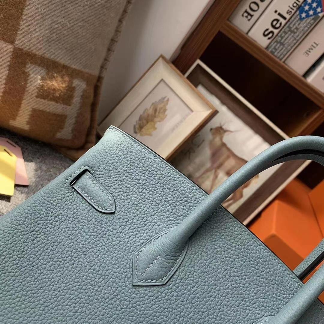 Hermès(爱马仕)J7亚麻蓝 原厂御用顶级小牛皮 Birkin 25 银扣