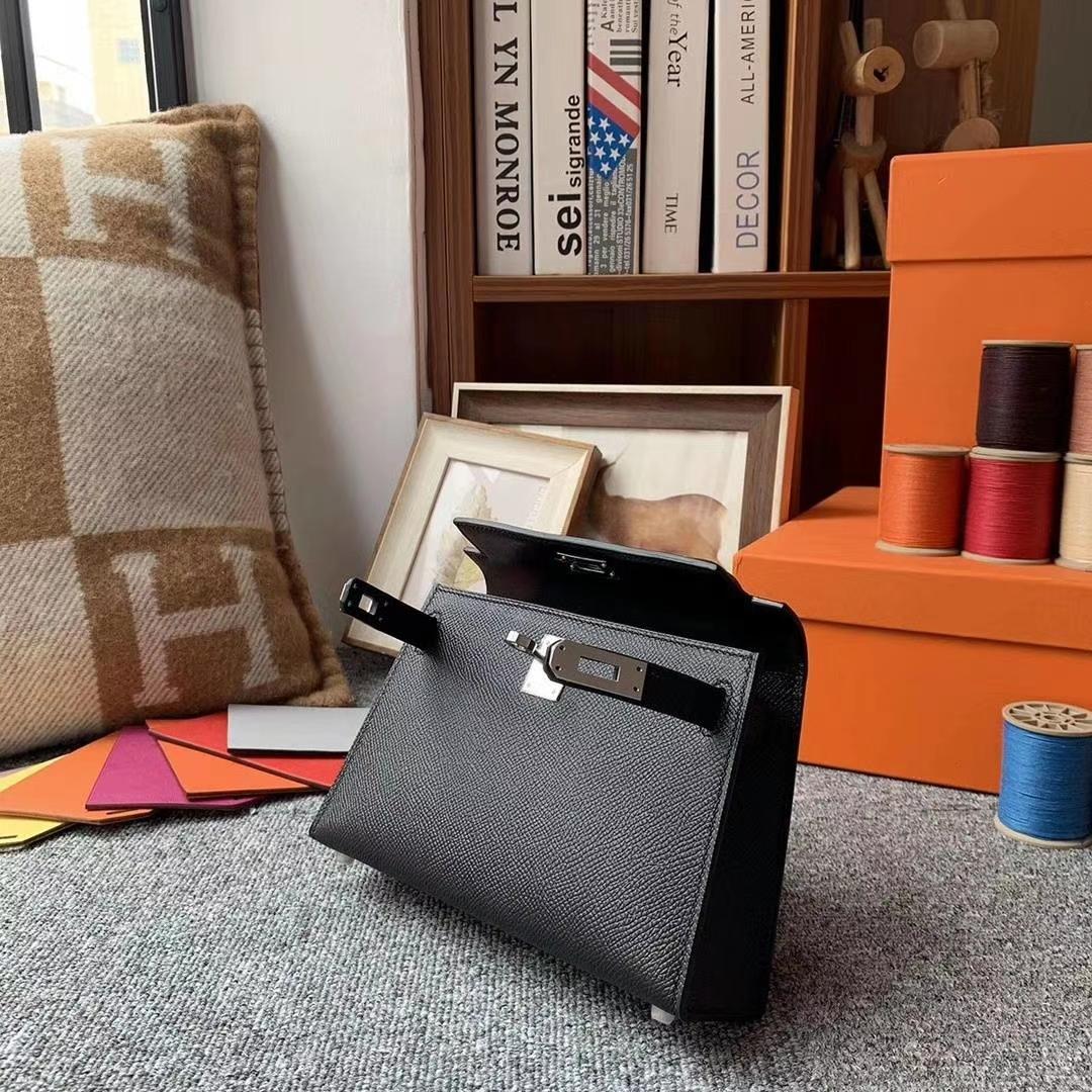 Hermès(爱马仕)CK89黑色 原厂御用顶级Epsom 皮 miniKelly 外缝 金扣 银扣 现货