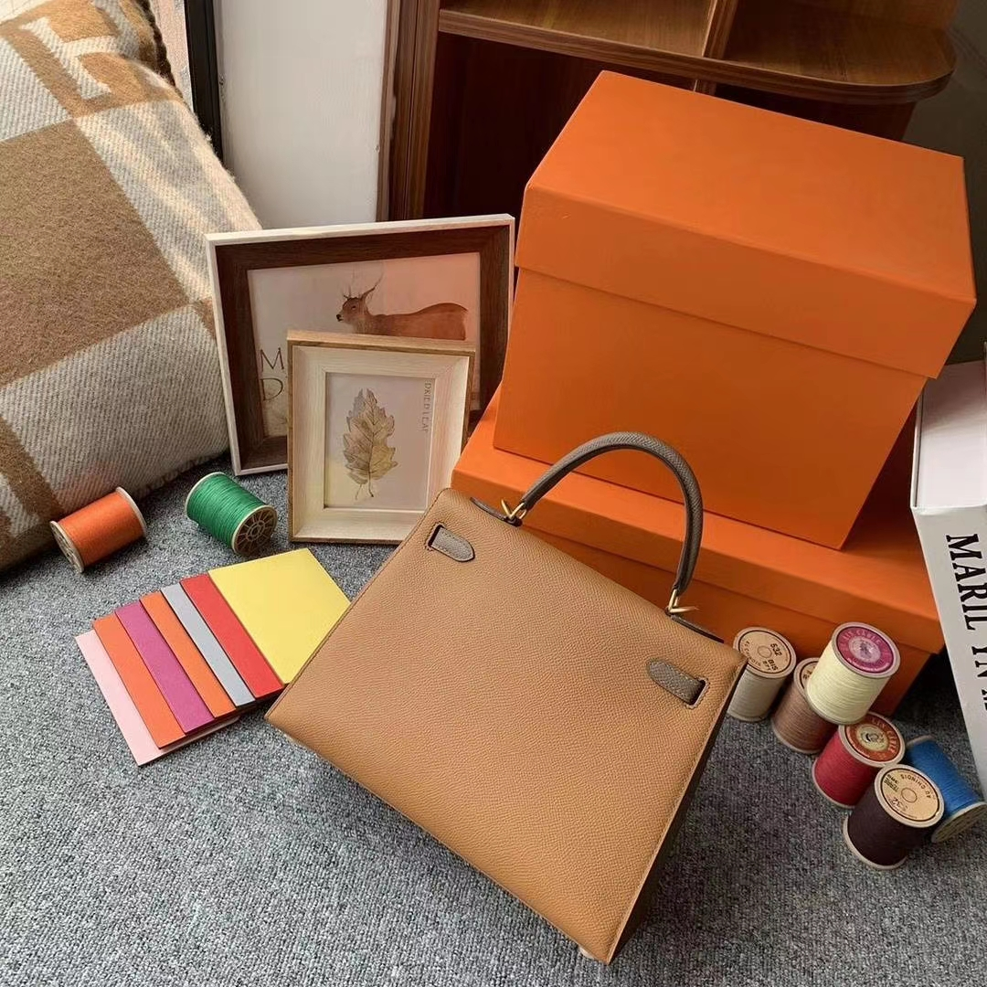 Hermès(爱马仕)C37金棕色拼M8沥青灰 原厂御用顶级Epsom 皮 Kelly 25 外缝 金拉丝扣