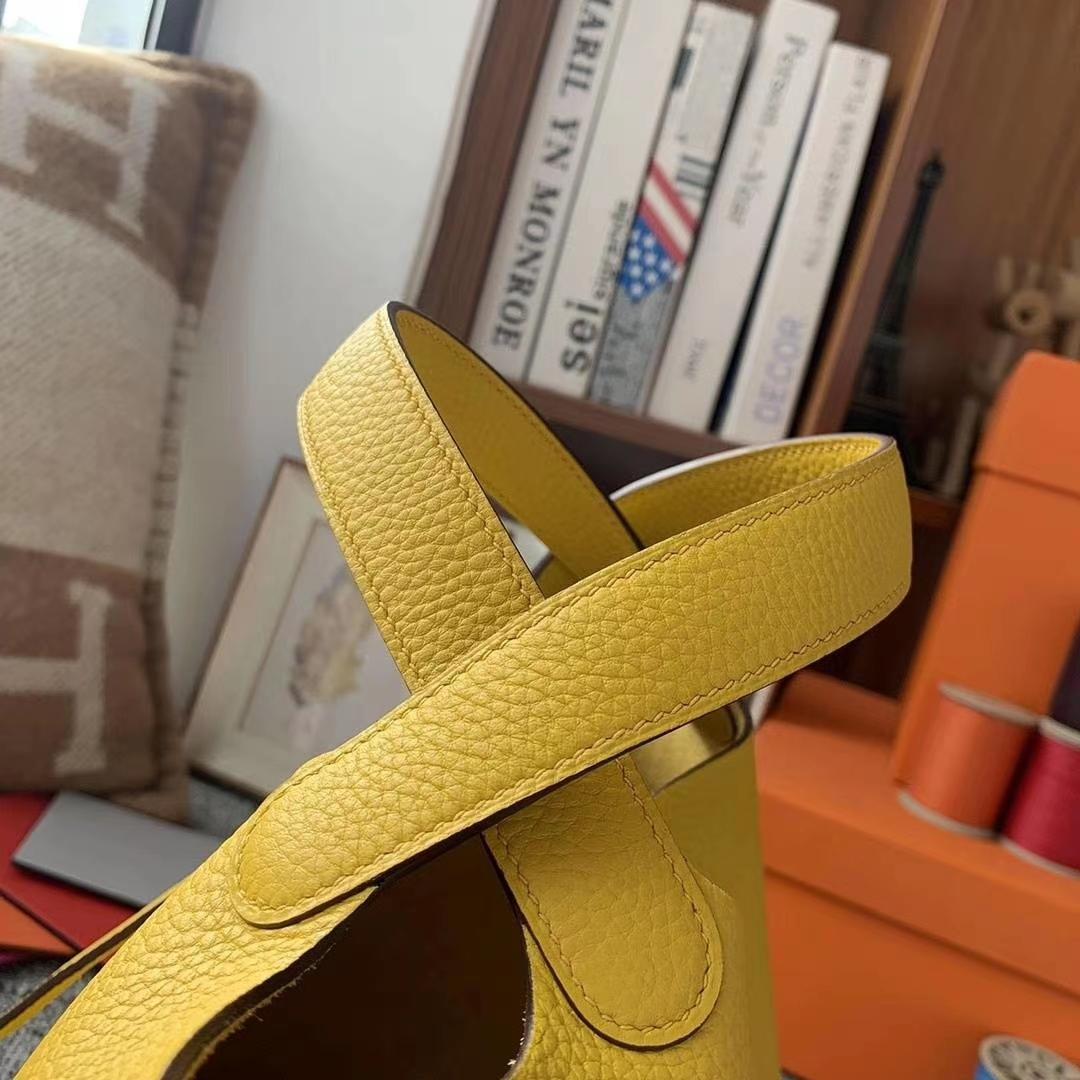 Hermès(爱马仕)9D琥珀黄 原厂御用顶级TC皮 Picotin  Lock 18cm 银扣