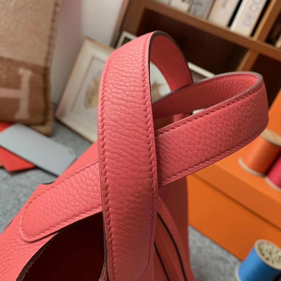 Hermès(爱马仕)8W新唇膏粉 原厂御用顶级TC皮 Picotin  Lock 18cm 银扣 现货
