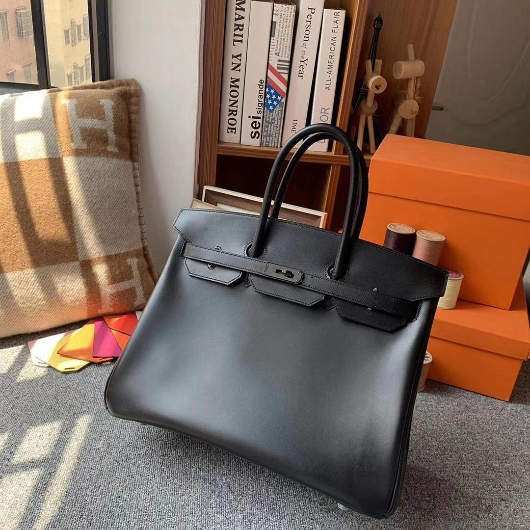 Hermès(爱马仕)CK89黑色 原厂御用顶级Box 皮 Birkin 35 So Black