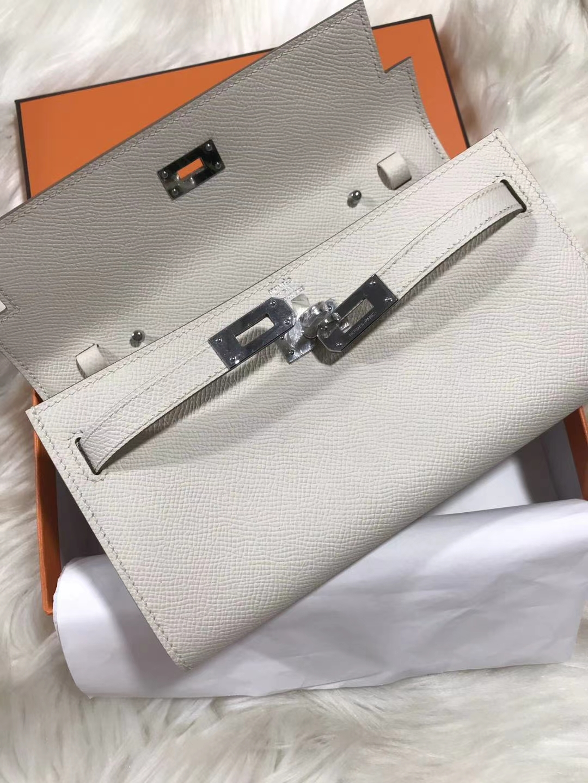 Hermès(爱马仕)Kelly togo 原装等级进口epsom皮 奶昔白 银扣 现货