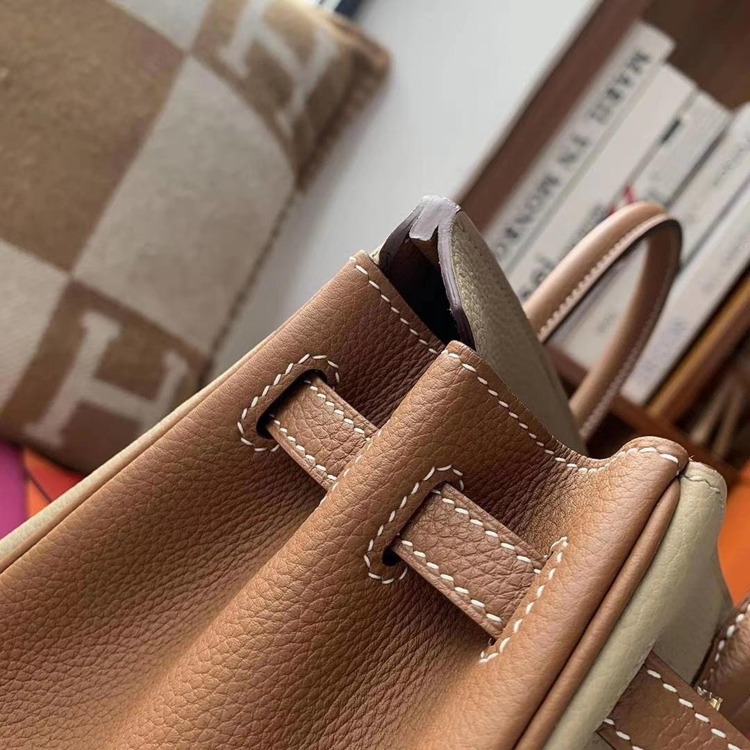 Hermès(爱马仕)S2风衣灰拼C37金棕色 原厂御用顶级小牛皮 Birkin 25 金扣