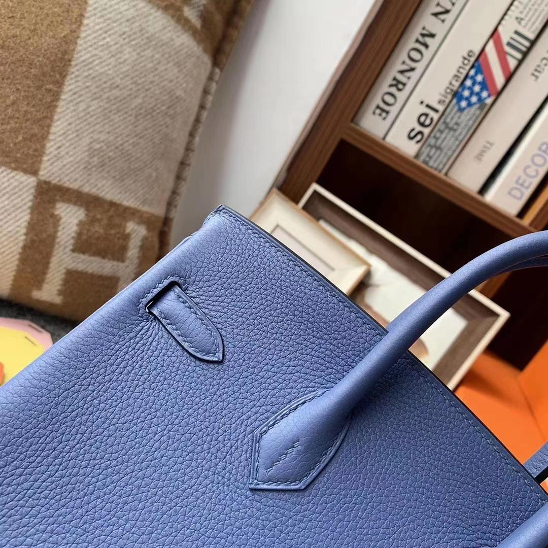 Hermès(爱马仕)R2玛瑙蓝 原厂御用顶级小牛皮 Birkin 25 金扣