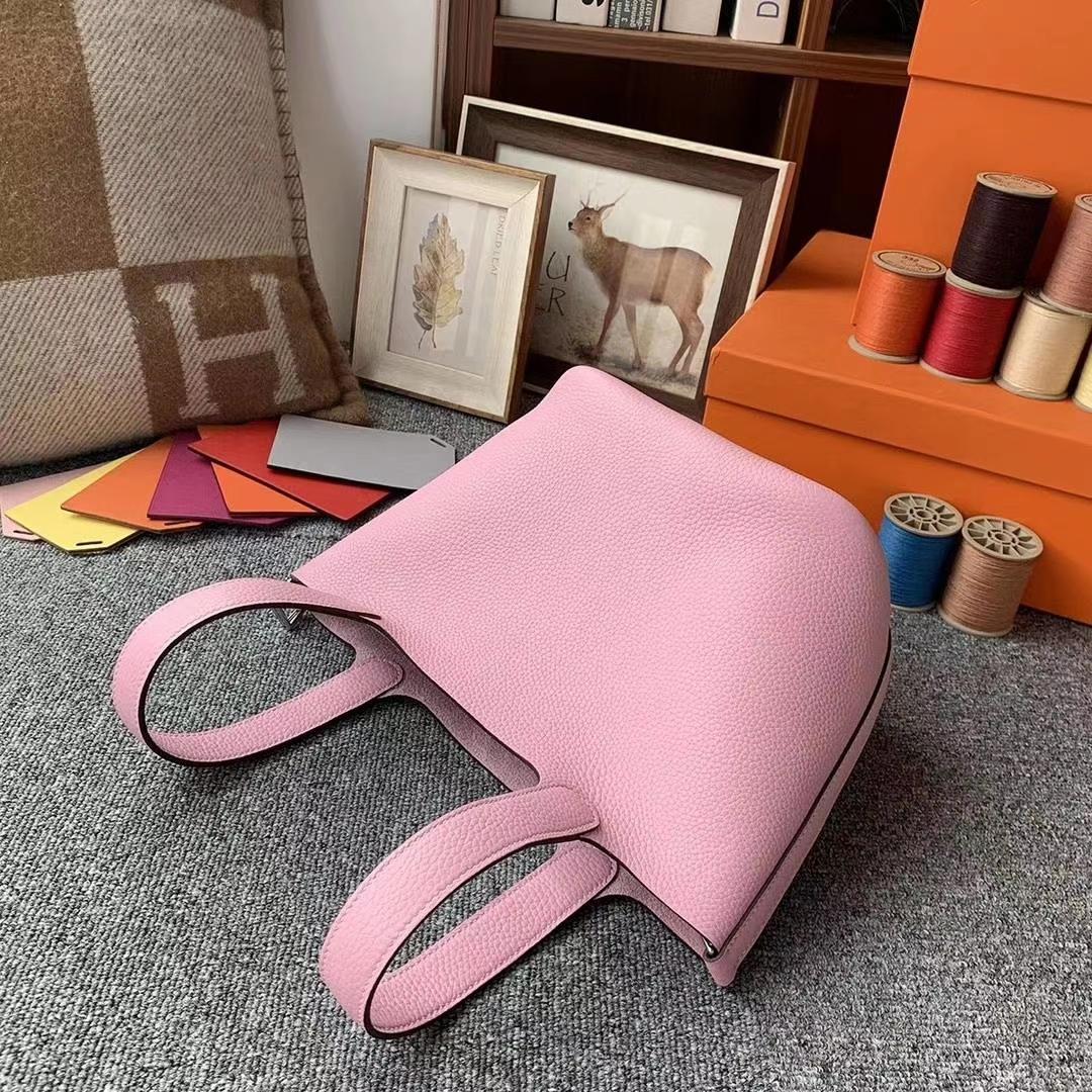 Hermès(爱马仕)锦葵紫色 原厂御用顶级TC皮 Picotin  Lock 18cm 银扣
