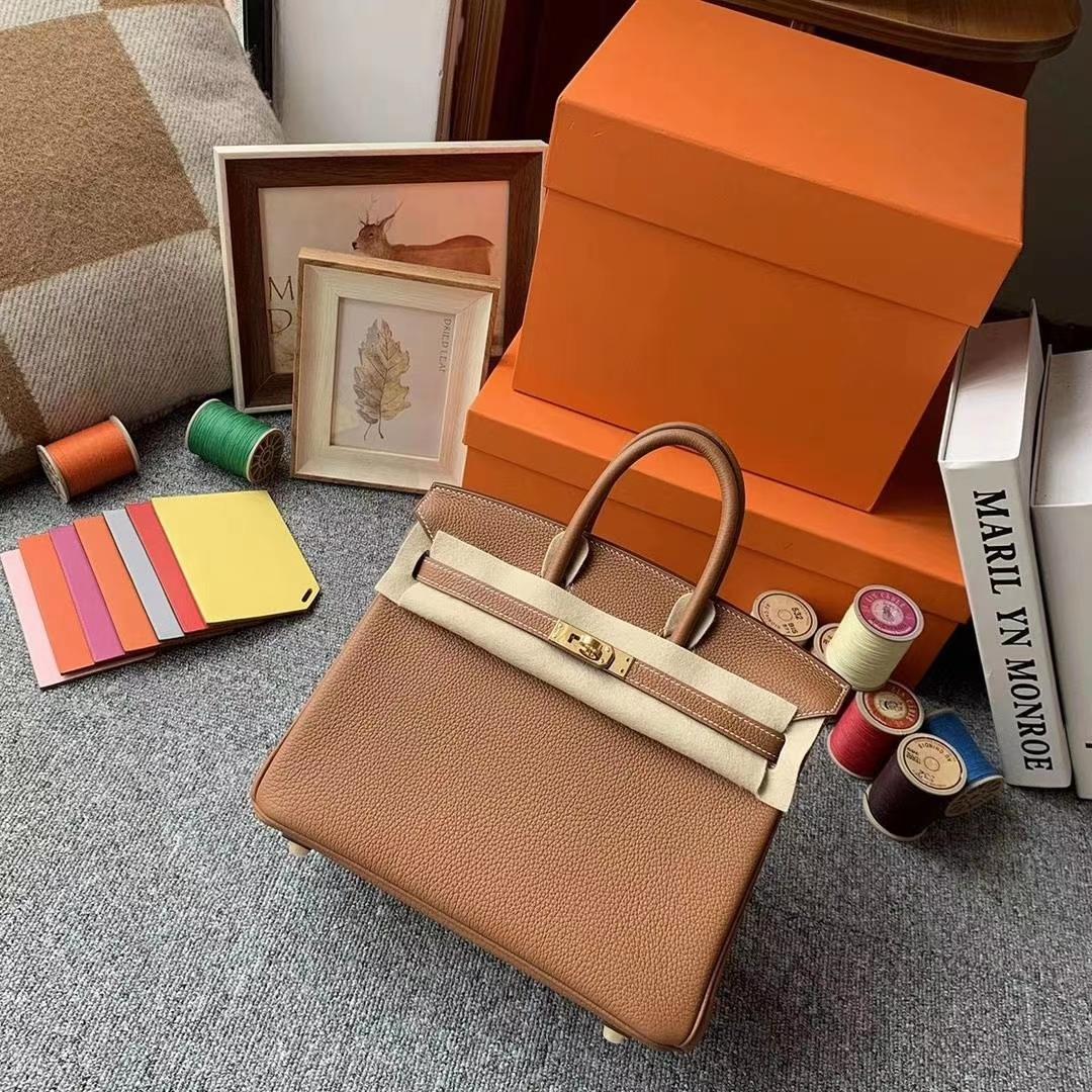 Hermès(爱马仕)C37金棕色 原厂御用顶级小牛皮 Birkin 25 金扣 现货