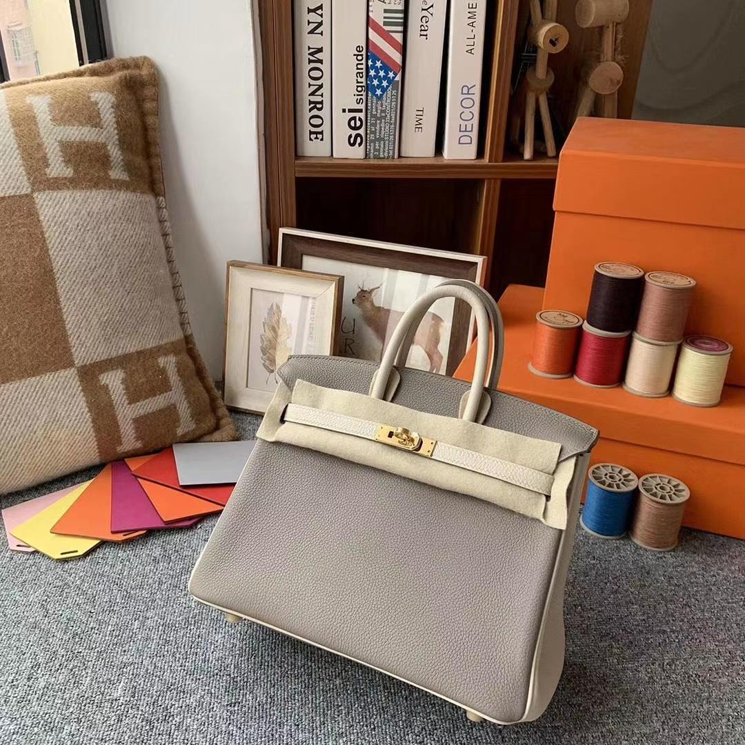 Hermès(爱马仕)M8沥青灰拼奶昔白 原厂御用顶级小牛皮 Birkin 25 金扣