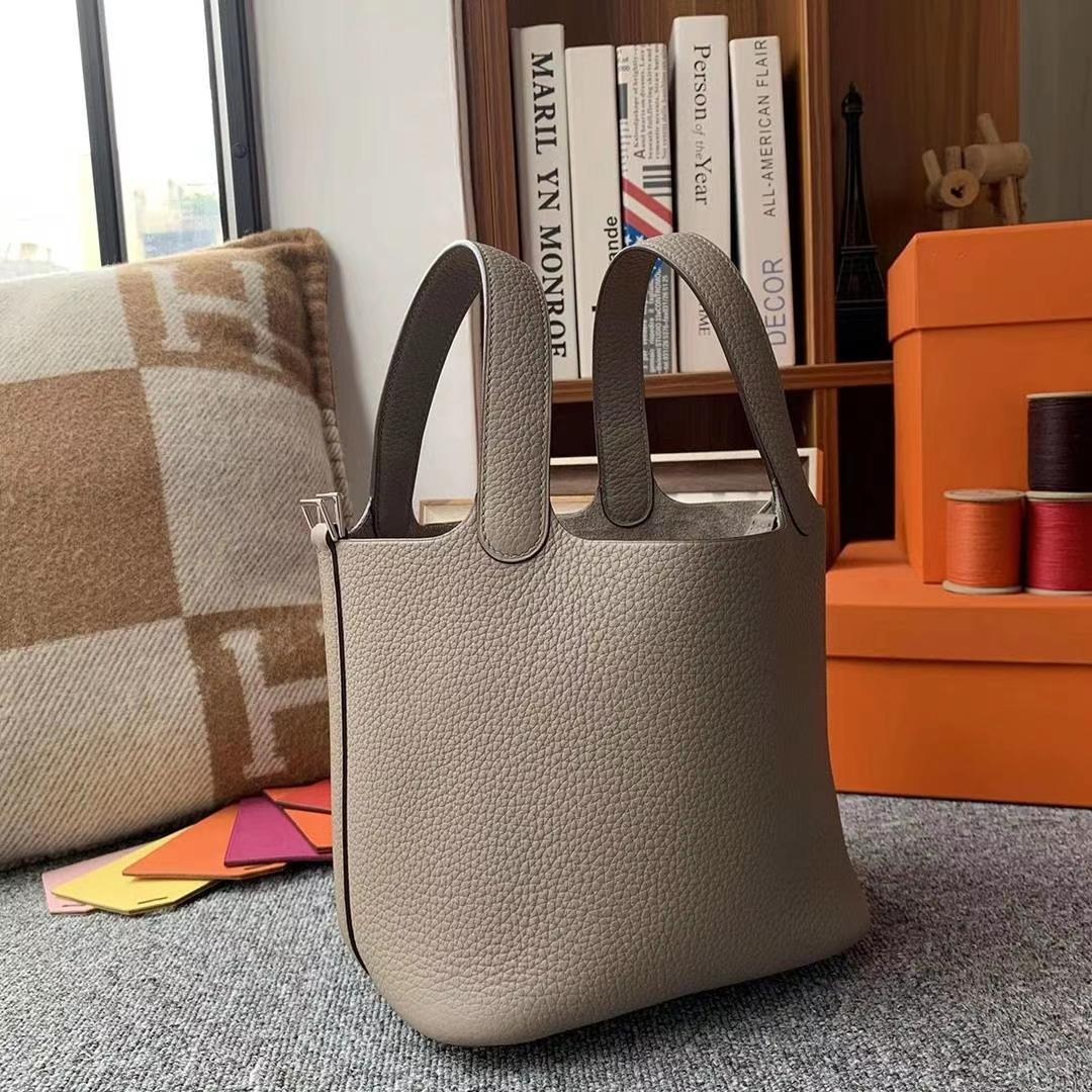 Hermès(爱马仕)M8沥青灰 原厂御用顶级TC皮 Picotin  Lock 18cm 银扣 现货