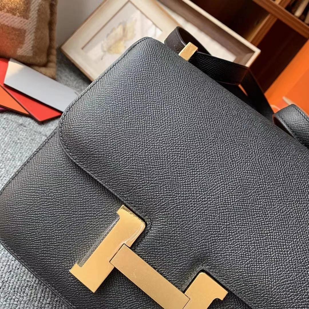 Hermès(爱马仕)CK89黑色 原厂御用顶级Epsom 皮 Constance 24  金扣 现货