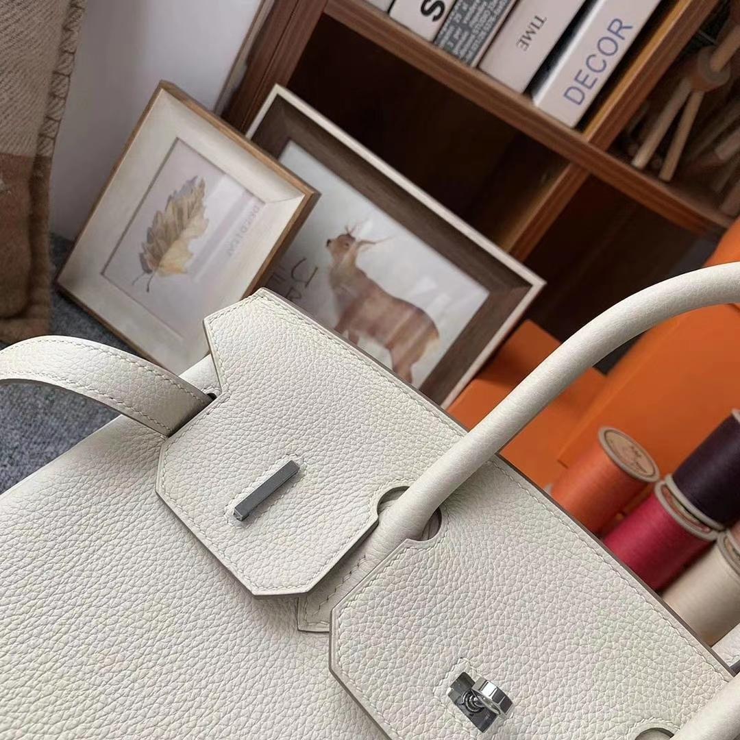 Hermès(爱马仕)奶昔白 原厂御用顶级小牛皮 Birkin 30 金扣 银扣 现货