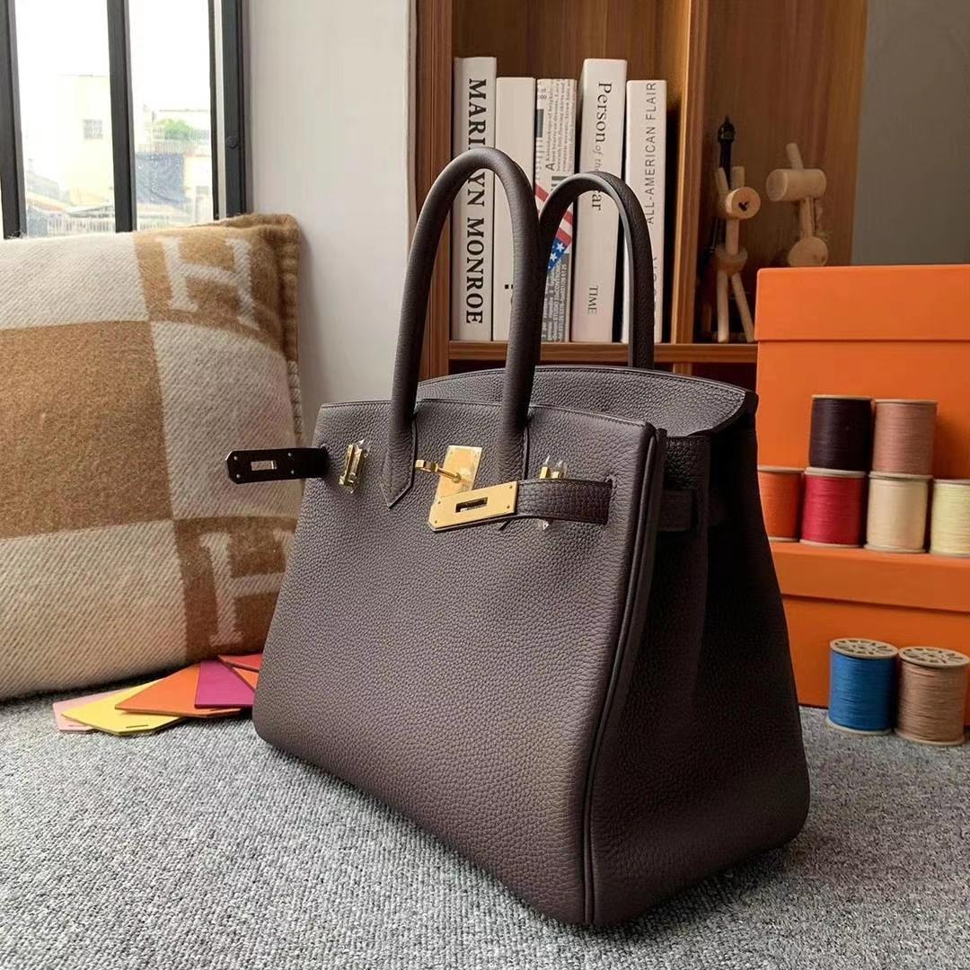 Hermès(爱马仕)朱古力 原厂御用顶级小牛皮 Birkin 30 金扣