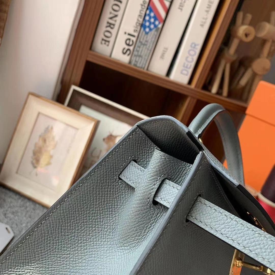 Hermès(爱马仕)杏绿色 原厂御用顶级Epsom 皮 Kelly 25 外缝 金扣