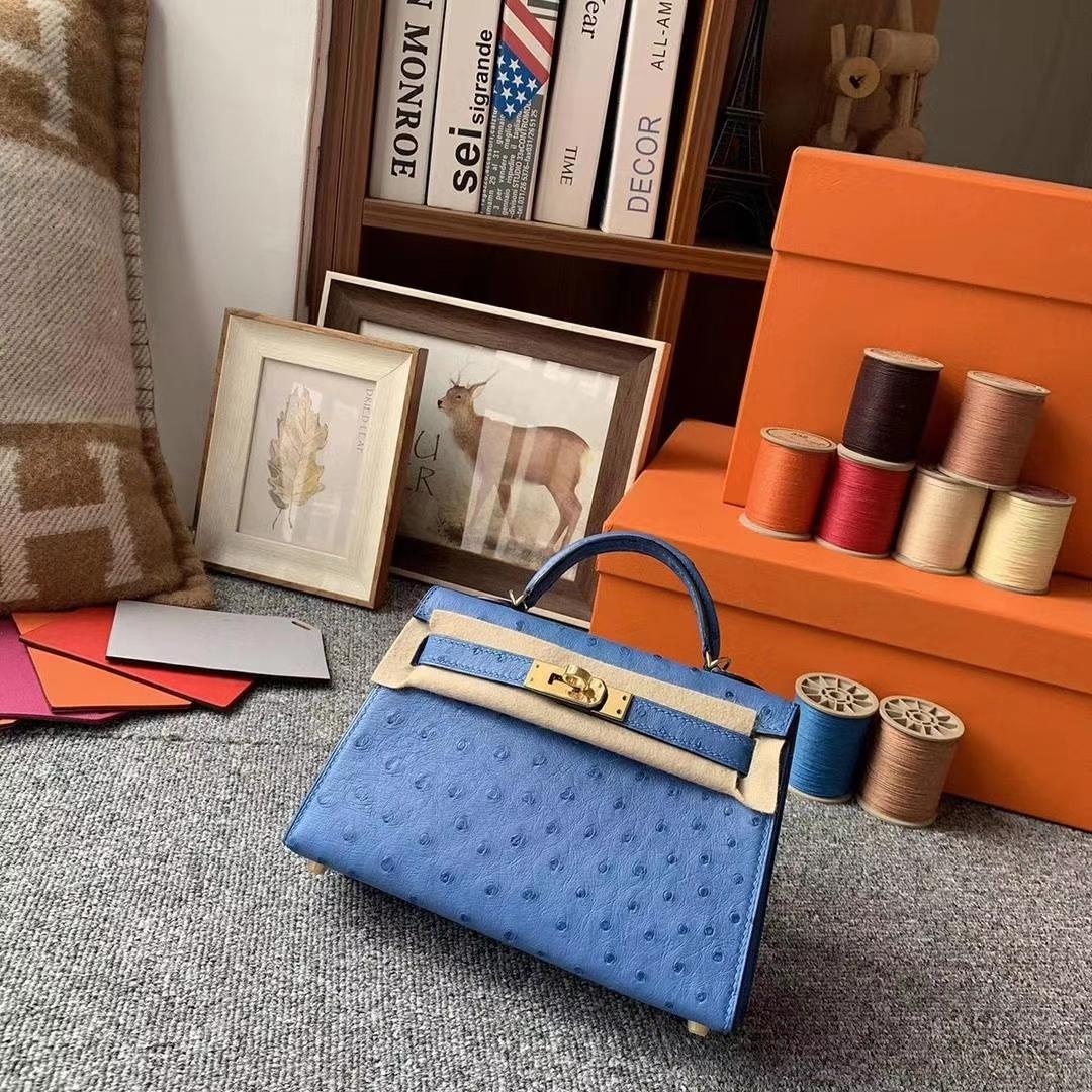Hermès(爱马仕)7K宝石蓝 原厂御用顶级KK鸵鸟皮 Mini Kelly 二代 金扣