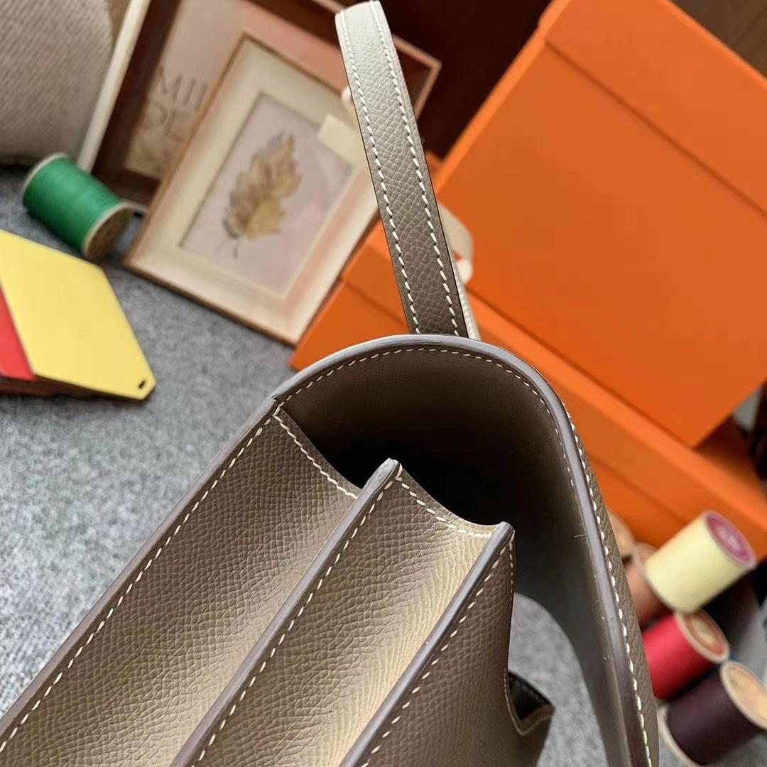 Hermès(爱马仕)CK18大象灰 原厂御用顶级Epsom 皮 Constance 19 金扣 现货