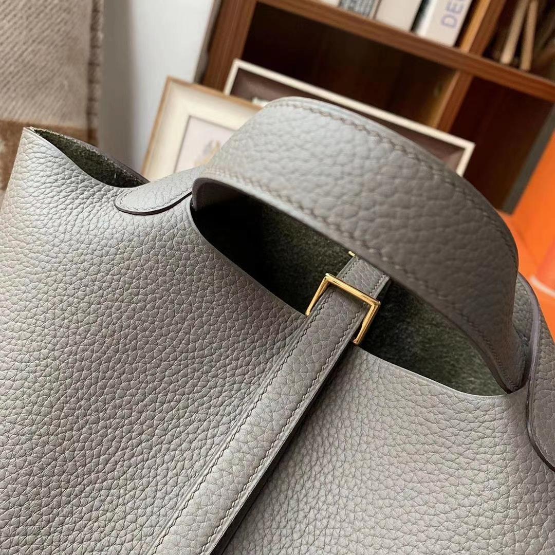 Hermès(爱马仕)8F锡器灰 原厂御用顶级TC皮 Picotin  Lock 18cm 金扣 现货