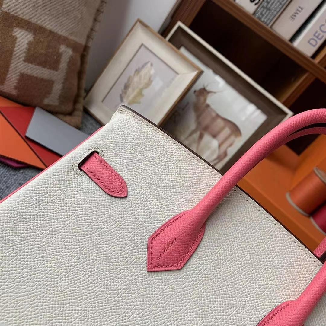 Hermès(爱马仕)奶昔白拼8W新唇膏粉 原厂御用顶级Epsom 皮 Birkin 25 金扣