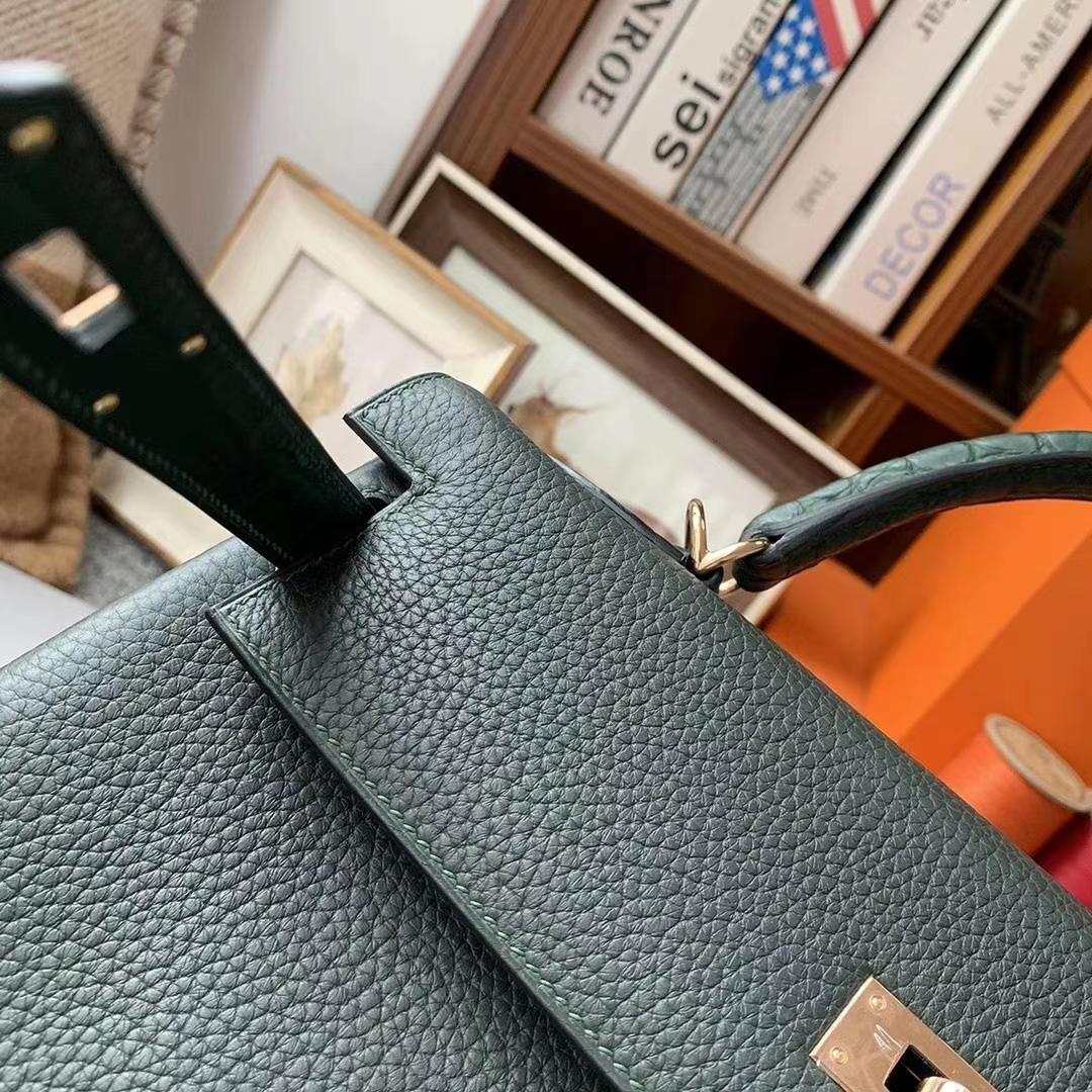 Hermès(爱马仕)柏树绿 原厂御用顶级小牛皮拼鳄鱼皮 Kelly 32 金扣