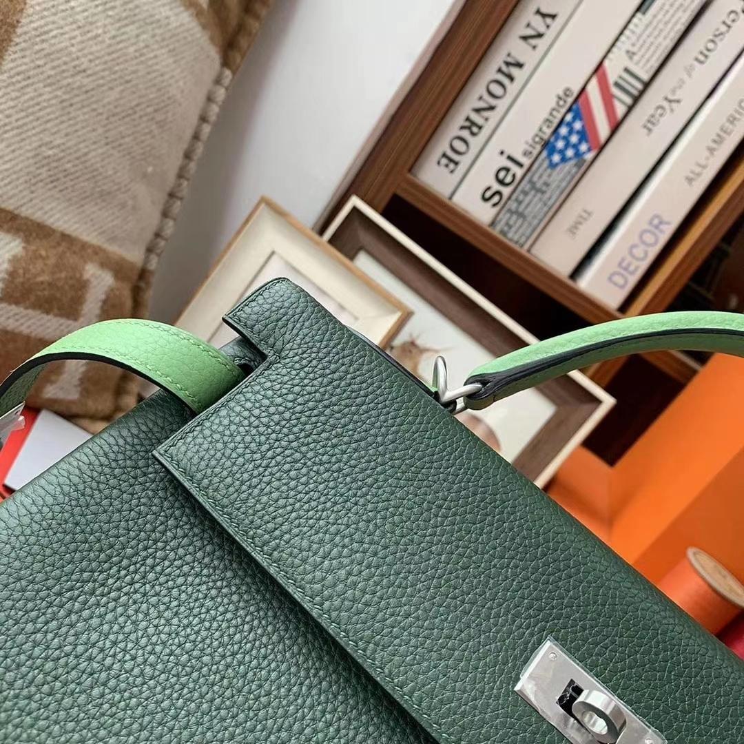 Hermès(爱马仕)英国绿拼牛油果绿 原厂御用顶级TC皮 Kelly 32 银扣