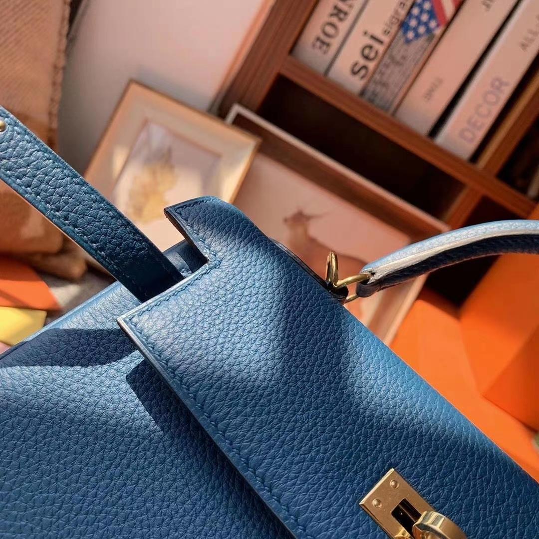 Hermès(爱马仕)7W伊兹密尔蓝 原厂御用顶级小牛皮 Kelly 25 金扣