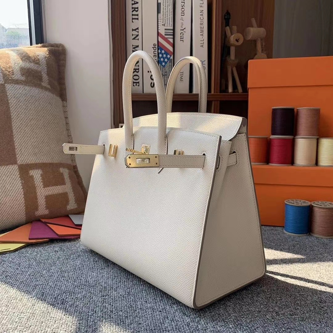Hermès(爱马仕)奶昔白 原厂御用顶级Epsom 皮 Birkin 25 外缝 金扣