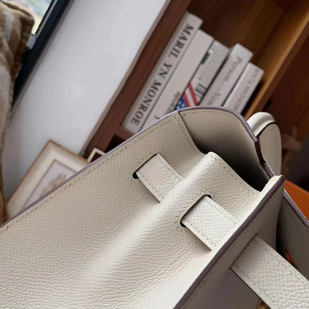 Hermès(爱马仕)奶昔白内拼风衣灰 原厂御用顶级Epsom 皮 Kelly 32 外缝 金扣
