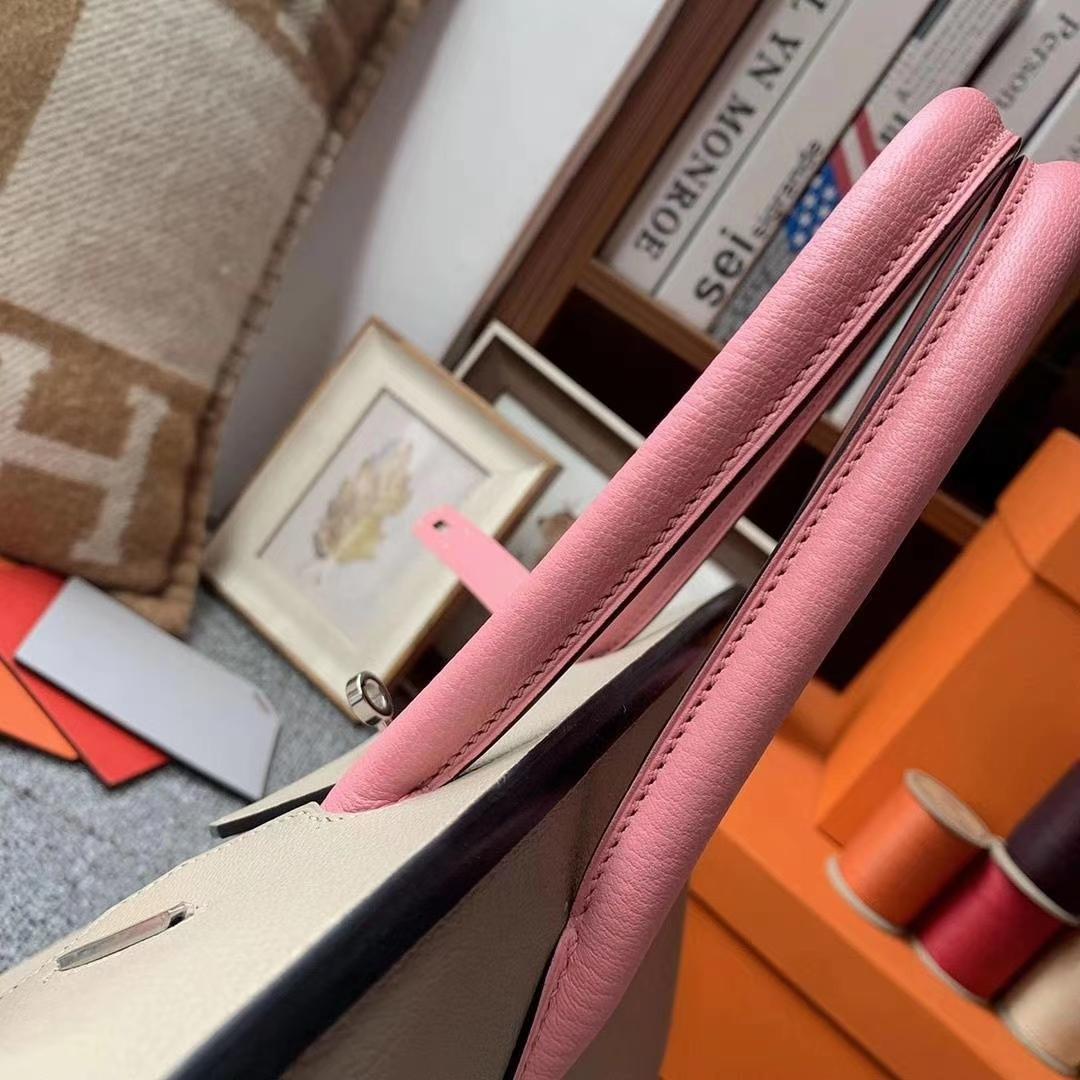 Hermès(爱马仕)CK81斑鸠灰拼3Q新樱花粉 原厂御用顶级山羊皮 Birkin 30 银扣