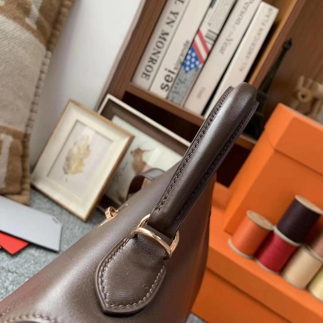 Hermès(爱马仕)深咖啡 原厂御用顶级Swift 皮 Kelly 32 内缝 金扣