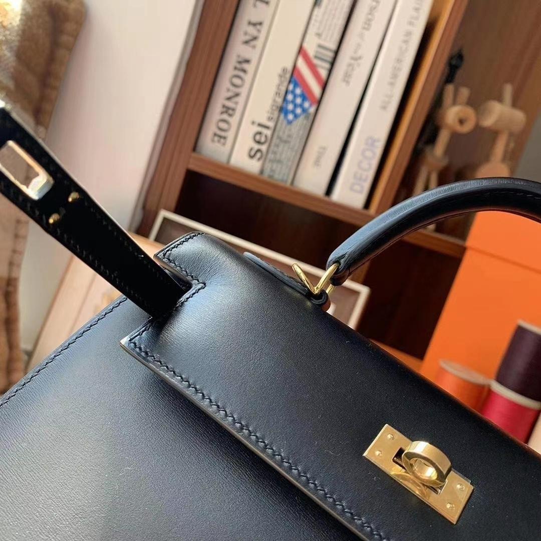 Hermès(爱马仕)CK89黑色 原厂御用顶级Box 皮 Kelly 25 外缝 金扣 现货