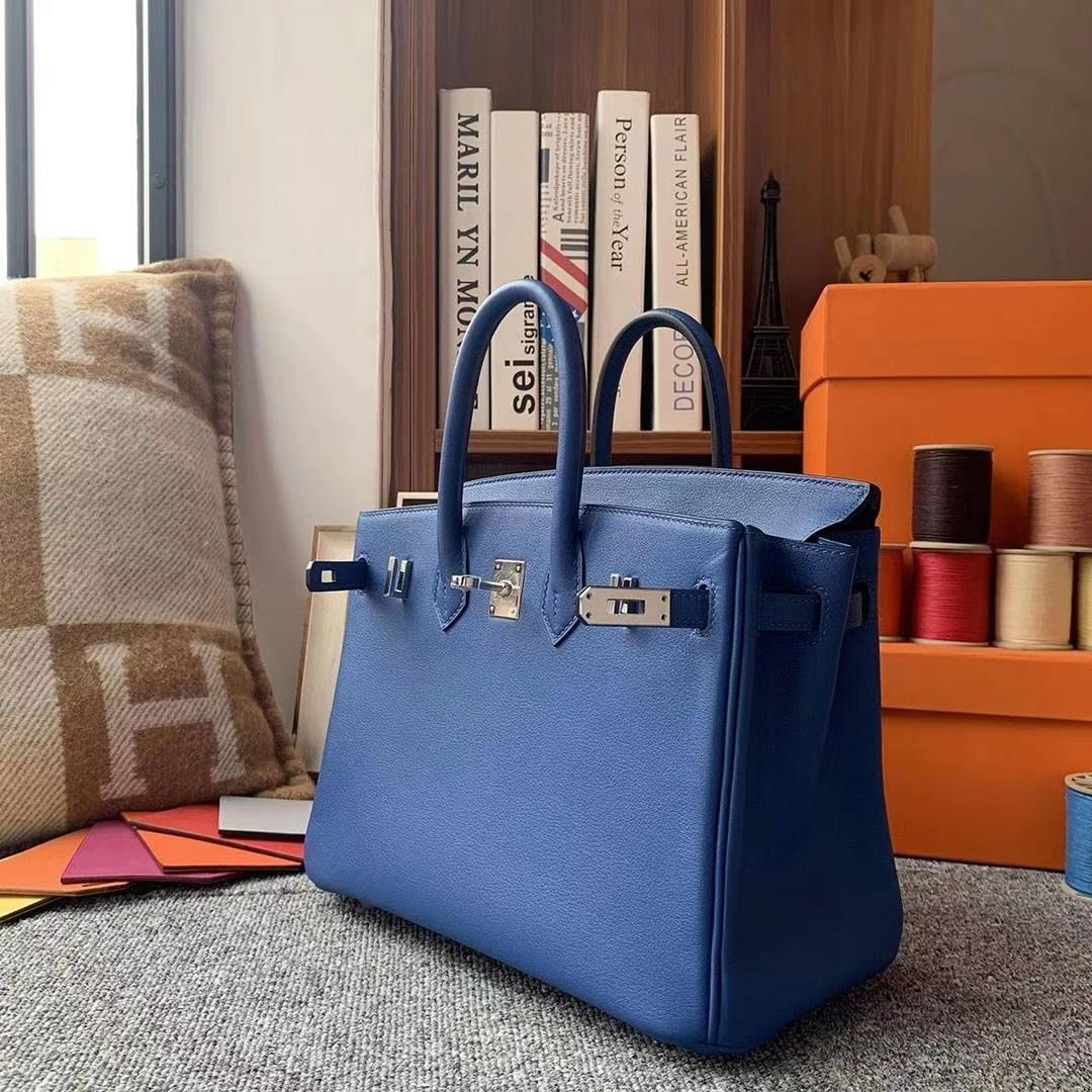 Hermès(爱马仕)电光蓝 原厂御用顶级Swift 皮 Birkin 25 银扣