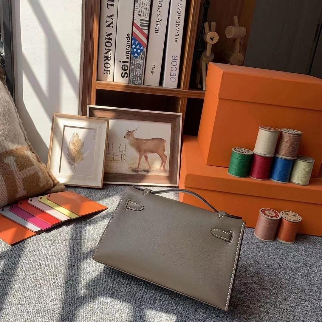 Hermès(爱马仕)CK18大象灰 原厂御用顶级Swift 皮 Mini Kelly 金扣 银扣 现货