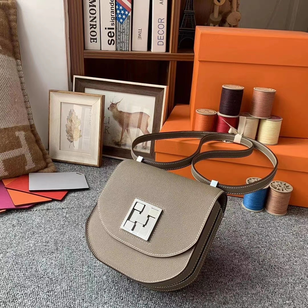 Hermès(爱马仕)CK18大象灰 原厂御用顶级Epsom 皮 马赛克 银扣