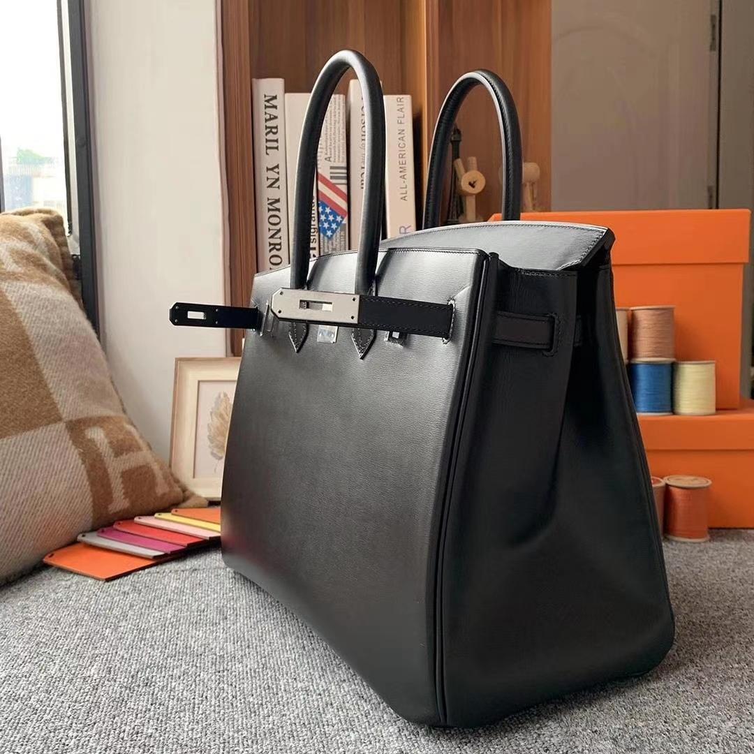 Hermès(爱马仕)CK89黑色 原厂御用顶级Box 皮 Birkin 35 银扣