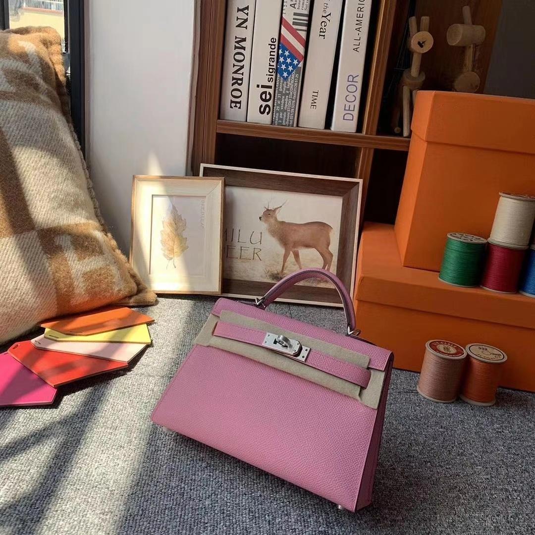 Hermès(爱马仕)5P樱花粉 原厂御用顶级Epsom 皮 Mini Kelly 二代 银扣
