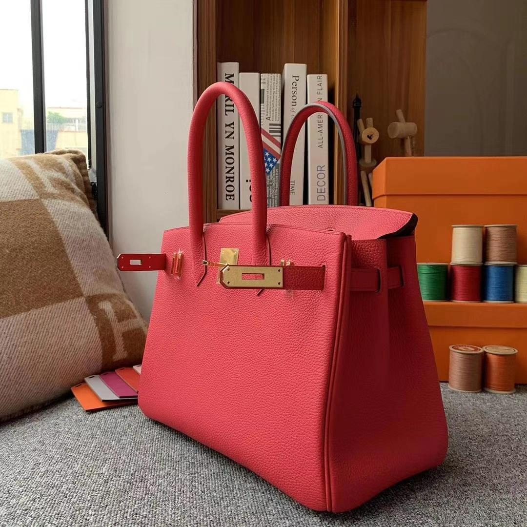 Hermès(爱马仕)I6极致粉 原厂御用顶级小牛皮 Birkin 30 金扣