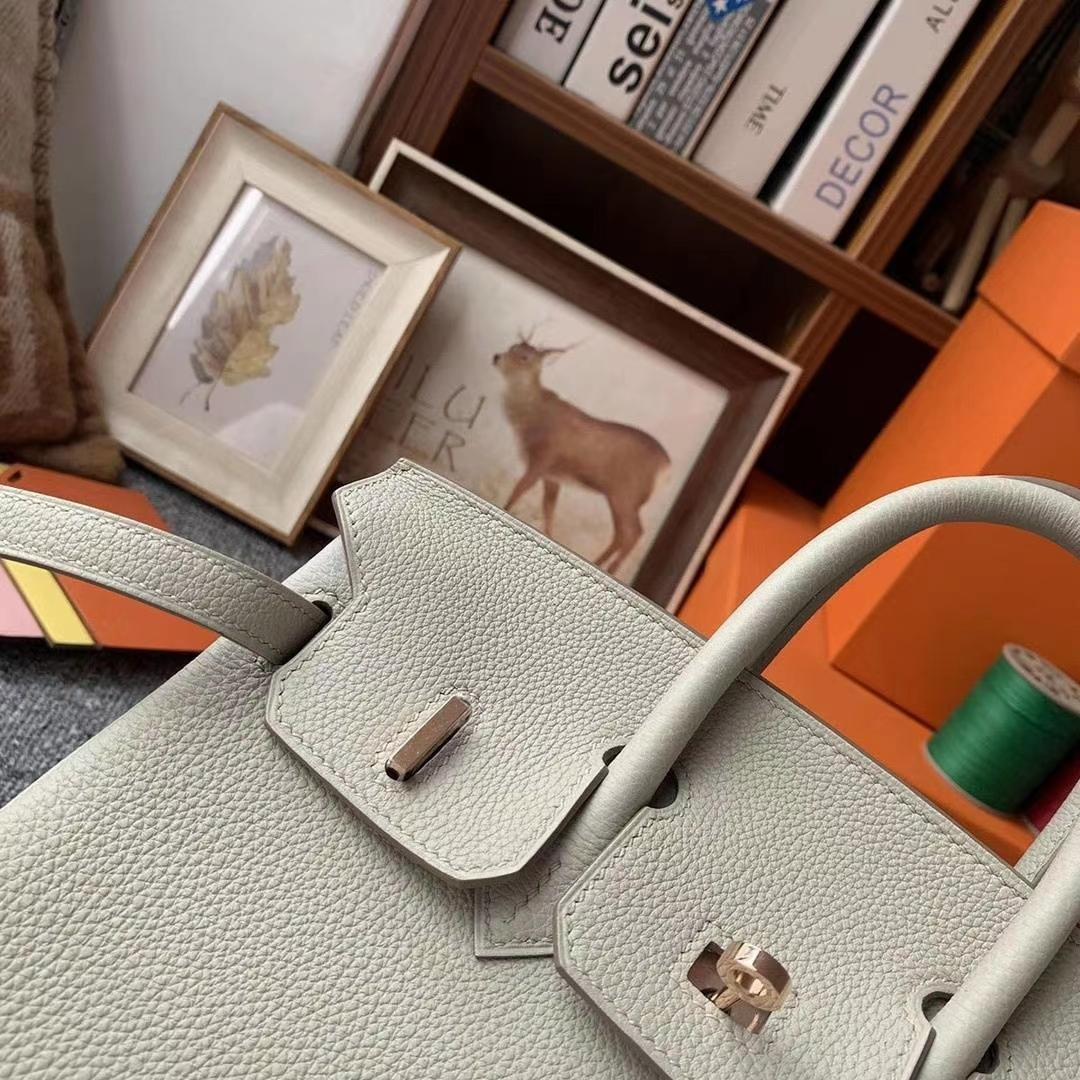 Hermès(爱马仕)C80珍珠灰 原厂御用顶级小牛皮 Birkin 25 玫瑰金扣