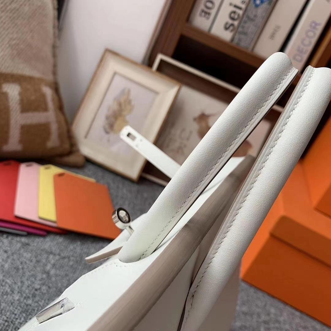 Hermès(爱马仕)8L冰川白 原厂御用顶级Swift 皮 Birkin 25 银扣